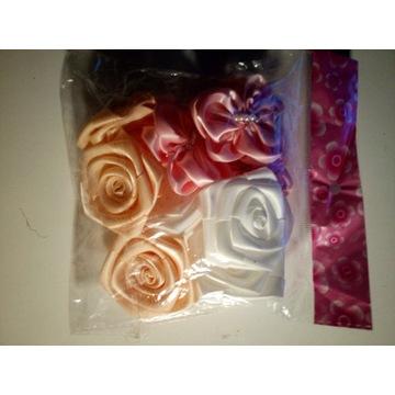 9x Kwiatki satynowe róże tasiemka 3 wzory po 3szt.