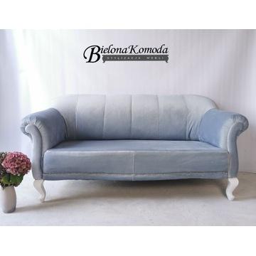 Sofa stylowa po renowacji welur szara błękitna