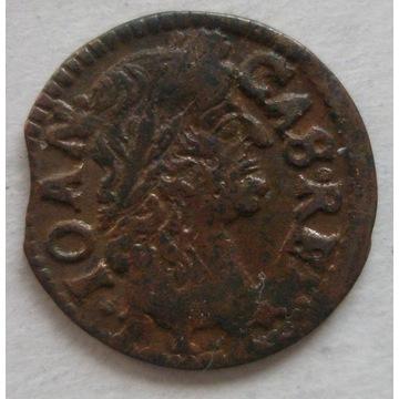 Jan Kazimierz, boratynka koronna 1664, stan 2/3+