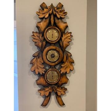 Barometr zjawiskowy stary ręcznie rzeźbiony