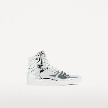 Zara srebrne metaliczne buty za kostkę 40