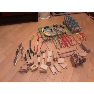 Kolejka drewniana-zestaw tory i akcesoria