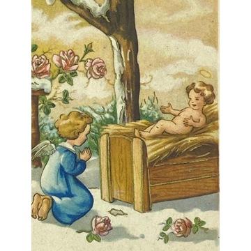 Kartka ze żłóbkiem i aniołkiem