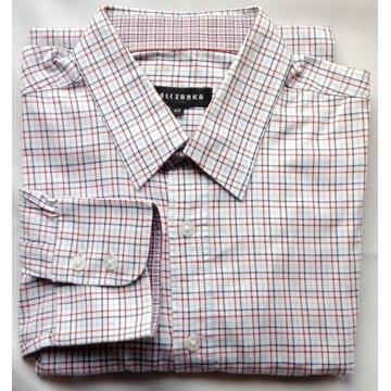 koszula Wólczanka slim biała w kratę 176-182/43