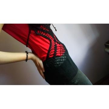 Bluzka szydełkowa, czarny top XXS
