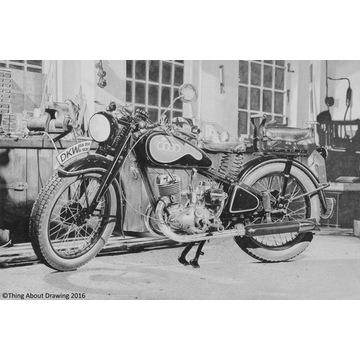 Motocykl zabytkowy DKW Auto Union rysunek A3