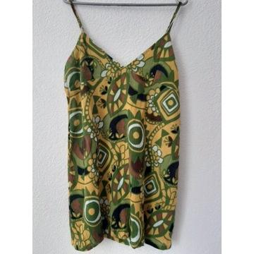 Zielono-żółta tunika na ramiączka