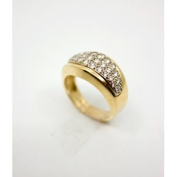 Pierścionek złoty z diamentami 585