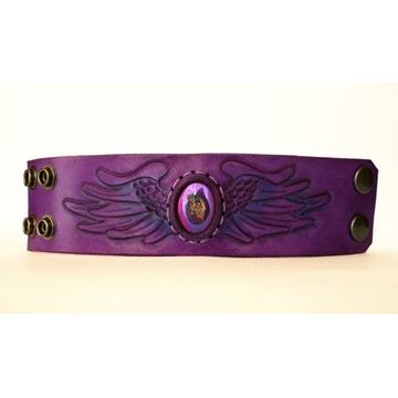 Skórzana bransoleta kamień skóra fiolet skrzydła