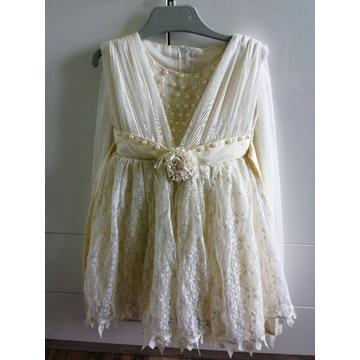 Sukienka balowa ecri dziewczęca