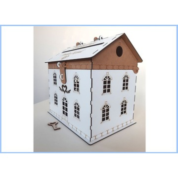 Pudełko domek na koperty ślubne , wesele , grawer