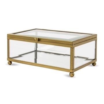Szkatułka szklana metalowa pudełko 6x10x14
