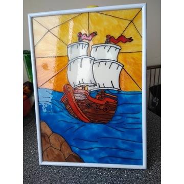 Obraz- Witraż Statek na morzu