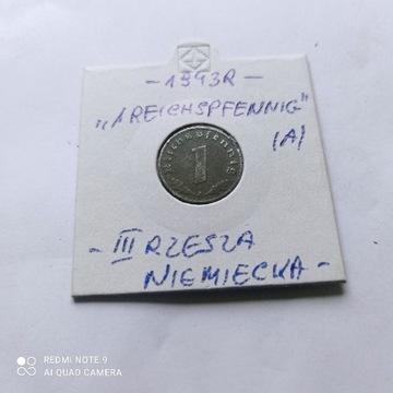 1 Reichspfennig A z 1943 roku III Rzesza niemiecka