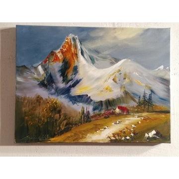 ,,świt w górach,, olejny Artur Sudak 40x30cm