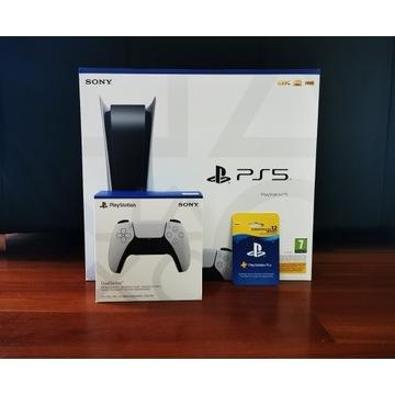 PlayStation 5 z napędem, 2 pady, subskrypcja 12 m