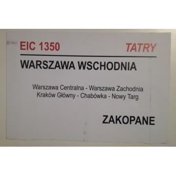 Tablica relacyjna EIC Tatry PKP IC Intercity 2