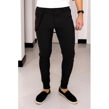 Spodnie Zara W34 (L - 44) Czarne Slim Fit SF