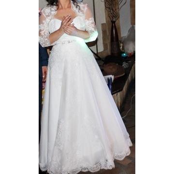 Suknia ślubna rozm. 38-42,biała, gorset+gratisy