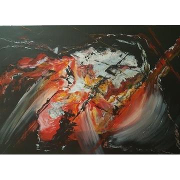 Duży Obraz Czerwień 90x60