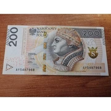 Banknot 200 zł seria AY