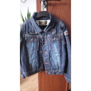 Katana kurtka jeansowa chłopiec naszywki r 128 BDB