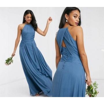ASOS niebieska koktajlowa sukienka