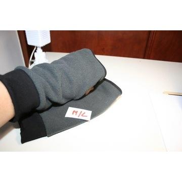męskie polarowe rękawiczki b.palców popiel czarne