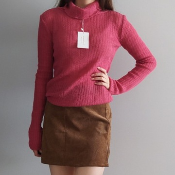 Różowy sweter z golfem golf rozmiar uniwersalny