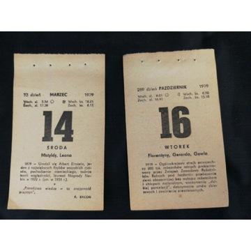 Kartka z Kalendarza Rocznik 1968 oraz 1972-1985