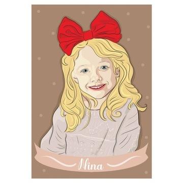 Portret cyfrowy 420x297 mm Prezent Dziecko