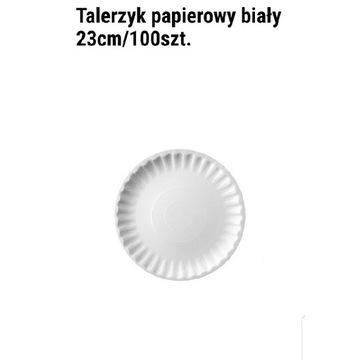 Talerze papierowe białe 23cm 100szt.