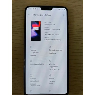 OnePlus 6 6/64 GB super stan