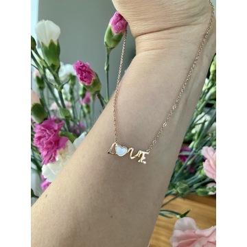 Naszyjnik stalowy z masą perłową  LOVE