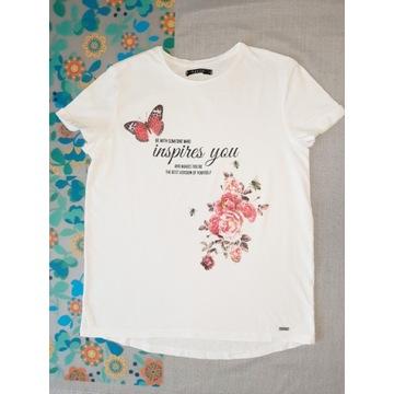 Biała koszulka z brokatowymi motylkami i kwiatami