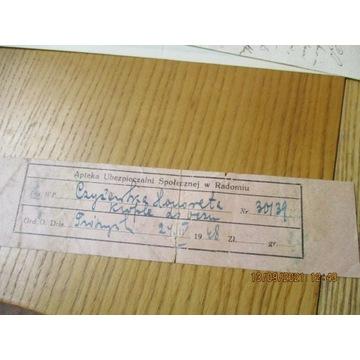 recepta (?) APTEKA UBEZPIECZALNI SPOŁ. RADOM 1948