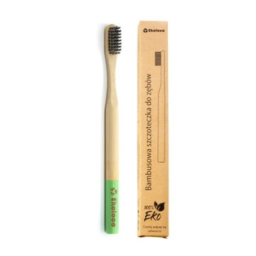 Bambusowa szczoteczka do zębów eko miękka zielona