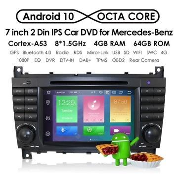 RADIO 2 DIN ANDROID MERCEDES W203 W209 C180 C200