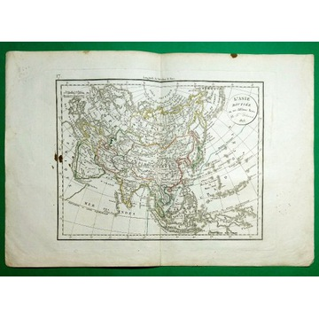 AZJA ROSJA PERSJA TYBET CHINY JAPONIA INDIE 1823