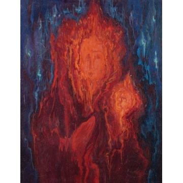Gorejąca Matka Boska Obraz olej sygnowany aukcyjny