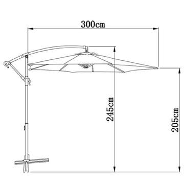 Parasol ogrodowy Gartenfreude wys. 245 x Ø 300 cm