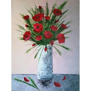 Obraz akrylowy kwiaty 30x40 MAKI