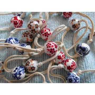 korale hand made ceramika i sznurek 140cm