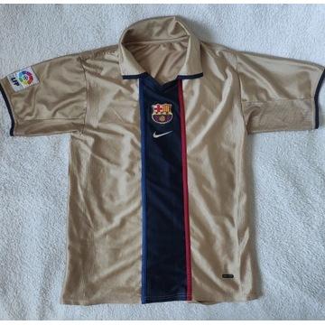 FC Barcelona Koszulka 2001 2003 Wyjazdowa Złota