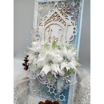 Kartka ręcznie robiona świąteczna, Boże Narodzenie
