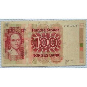 Norwegia NOK 100 koron 1989 Pisarka Camila Collett