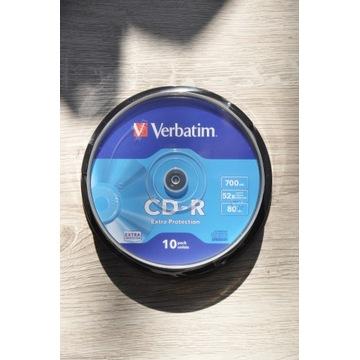 płyty 10 szt CD-R Verbatim 700MB + 10 kol kopert