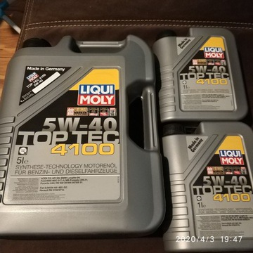6L niemieckiego oleju 5W40 Liqui Moly Top Tec 4100
