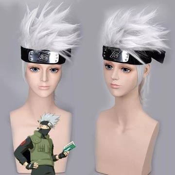 Naruto Kakashi cosplay wig peruka+przepaska