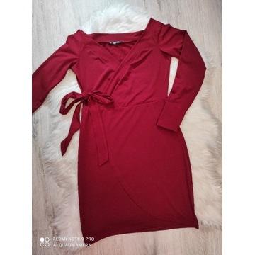 Bordowa sukienka hiszpanka kopertowa Shein S